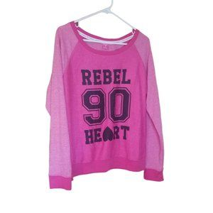 Pink Hard Candy Rebel Heart Sweatshirt Juniors XL